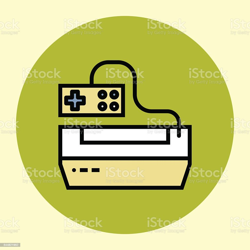 Thin Line Icon. Vintage Game Console. vector art illustration