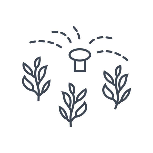 dünne liniensymbol bewässerung pflanzen, bewässerung, sprinkleranlage - aerial overview soil stock-grafiken, -clipart, -cartoons und -symbole