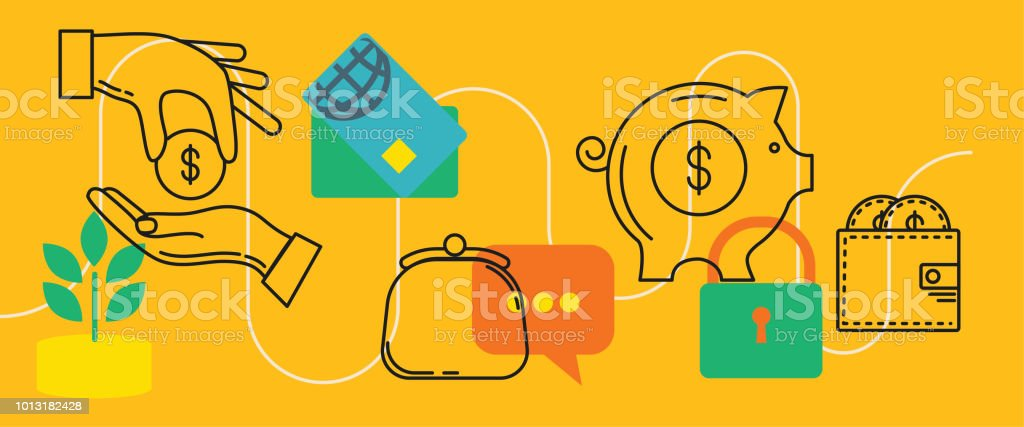 Thin Line Icons Banners - Financial And Money Concepts vector art illustration