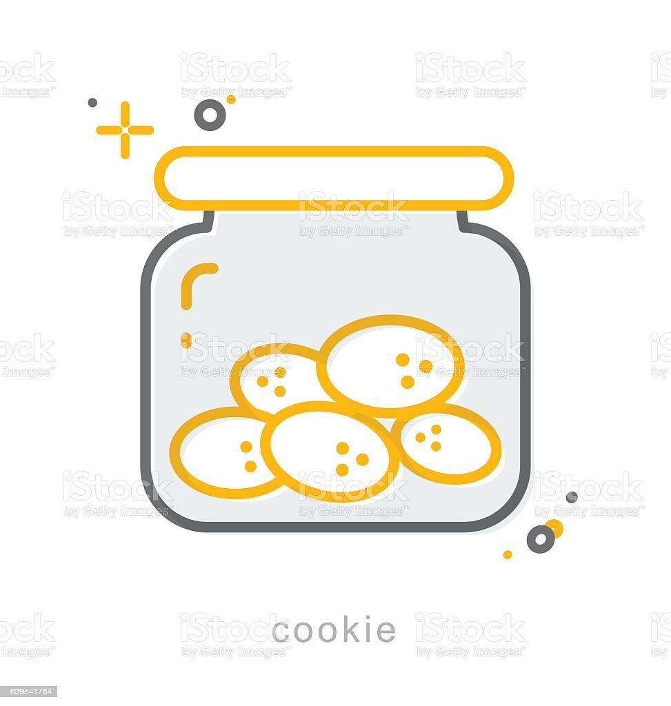 Thin line icons, Cookie vector art illustration