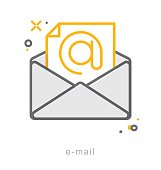 Thin line icons, E mail