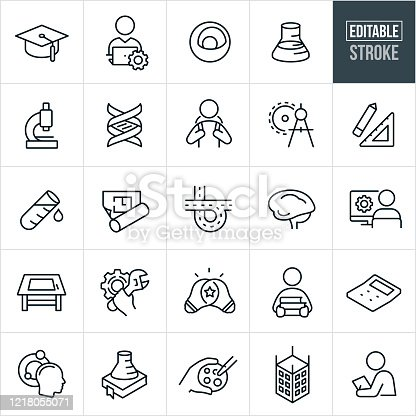 A set of STEM icons that include editable strokes or outlines using the EPS vector file. The icons represent the areas of Science, Technology, Engineering and Mathematics. They include a graduation cap, person working at computer, an atom, science beaker, microscope, DNA strand, student with backpack, drawing compass, drawing square, test tube, architectural floor plan, freeway, brain, engineer, architect at computer, drawing table, cog, student with books, light bulb, calculator, petri dish, building construction and other related icons.