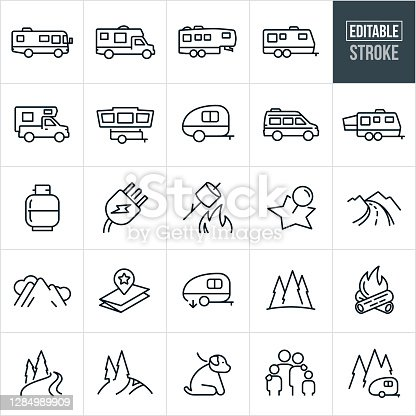 A set of RV icons that include editable strokes or outlines using the EPS vector file. The icons include a motorhome, travel trailer, fifth wheel, truck camper, camper, van camper, tent camper, propane tank, electrical plug, marshmallow roast, location marker, country road, mountain range, map, high country, pine trees, forest, camp fire, river, mountain trail, dog on leash, family and other related icons.