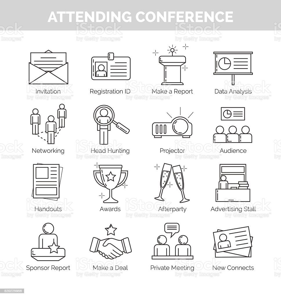 Thin line icons for attending conference vector art illustration
