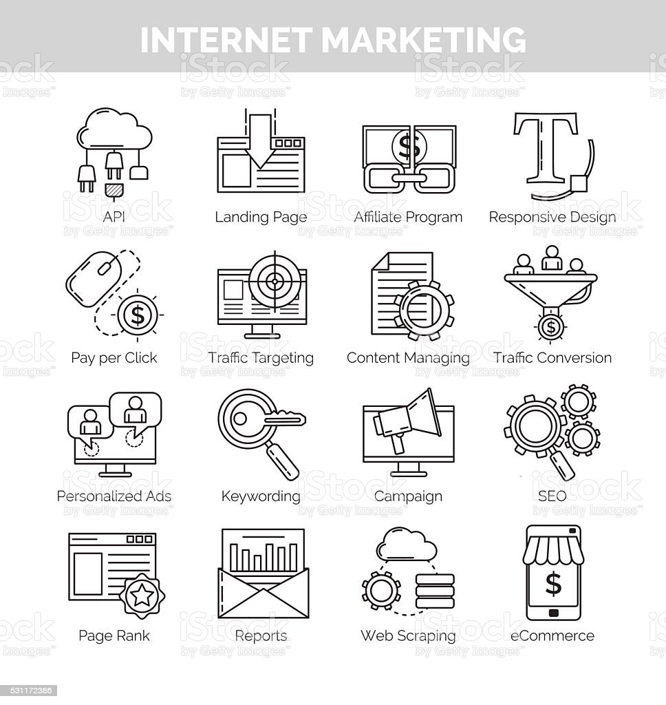 Thin line icons for internet marketing and seo vector art illustration
