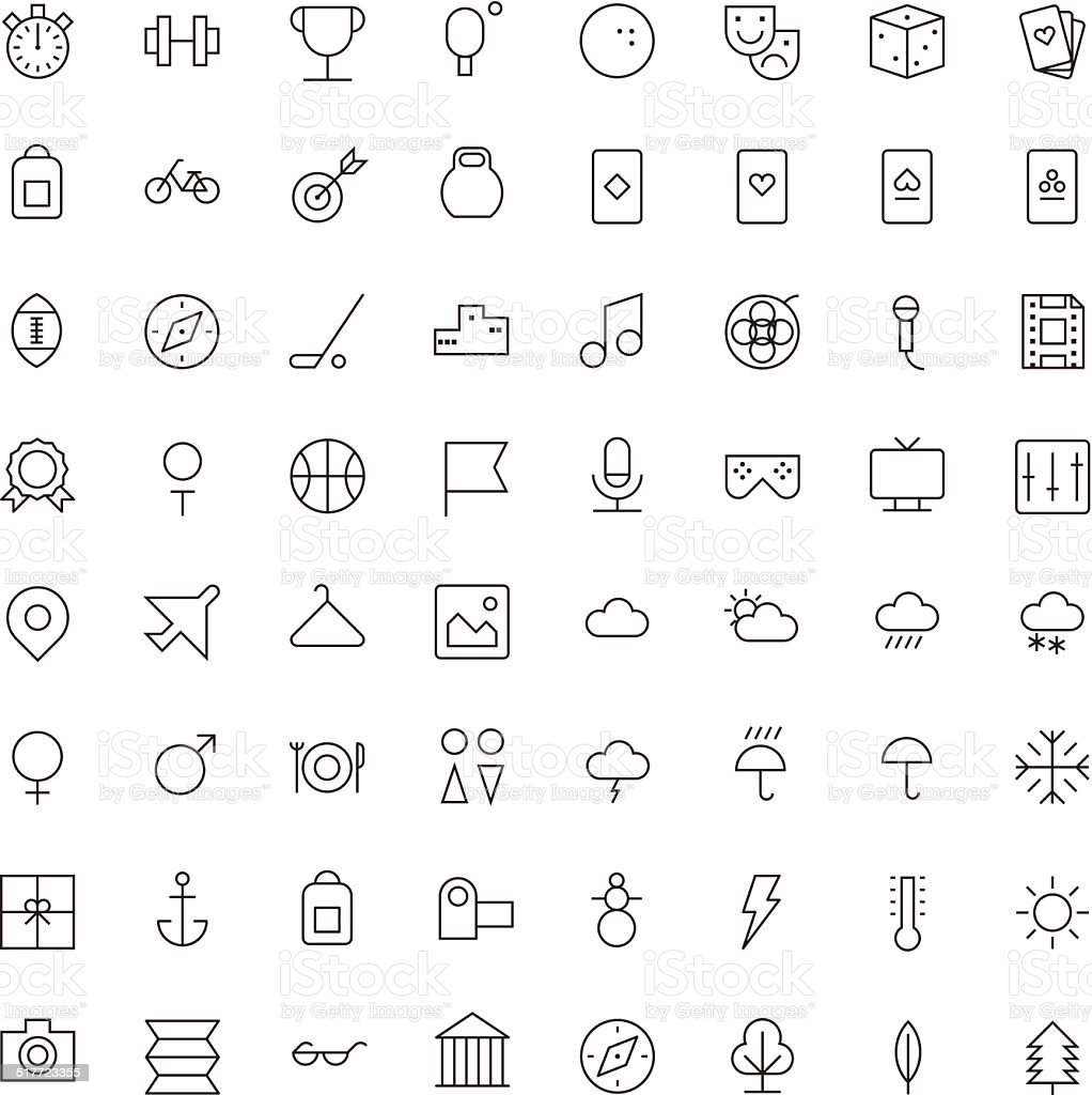 Thin Line Icons For Leisure, Sport, Travel and Weather vector art illustration