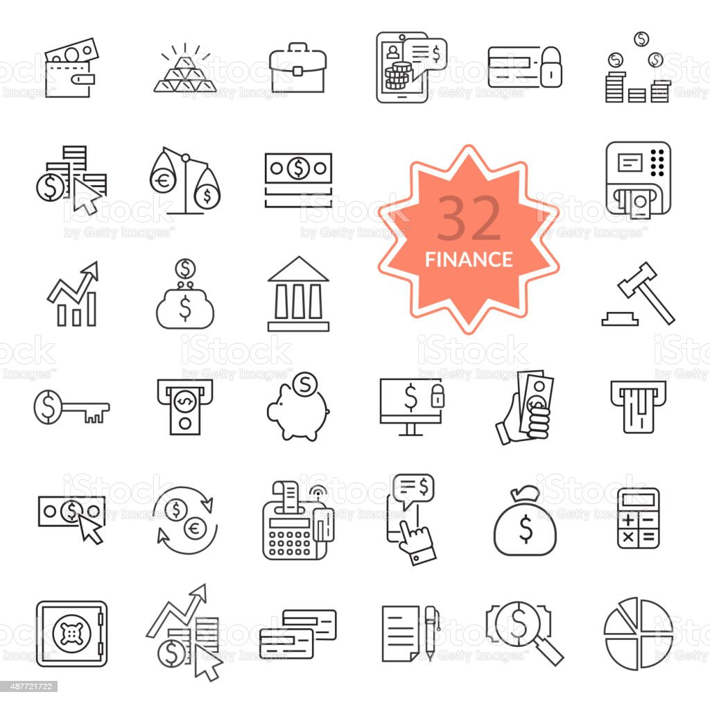 Thin Line Icons of Finance vector art illustration
