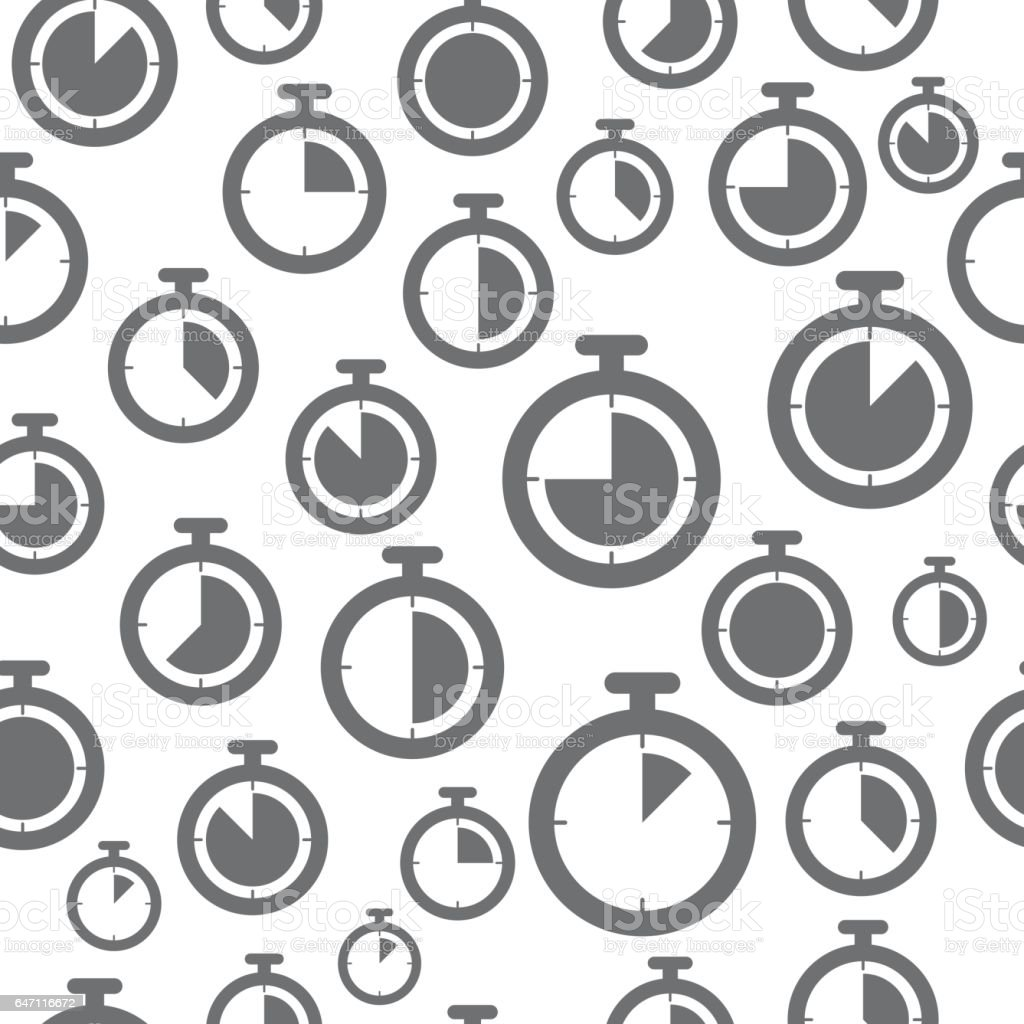 Thin line icons pattern, stopwatch icon