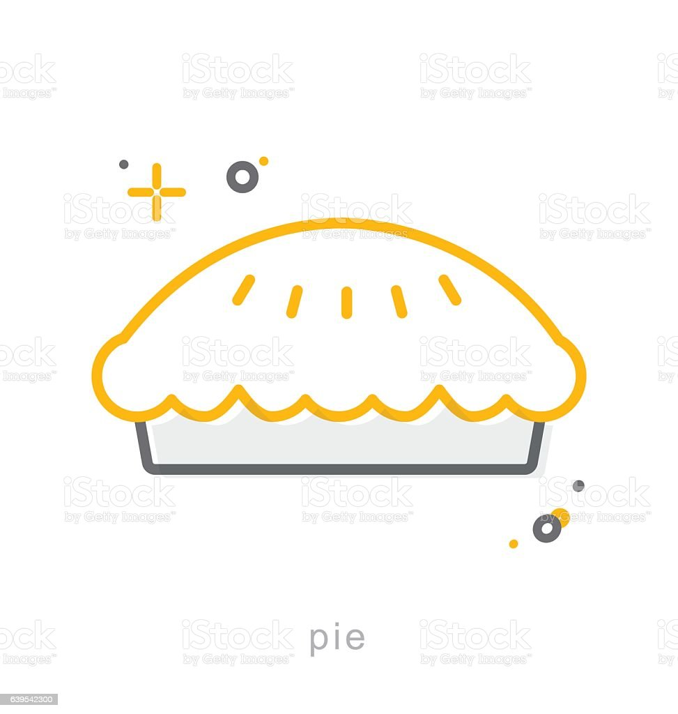 Thin line icons, Pie vector art illustration