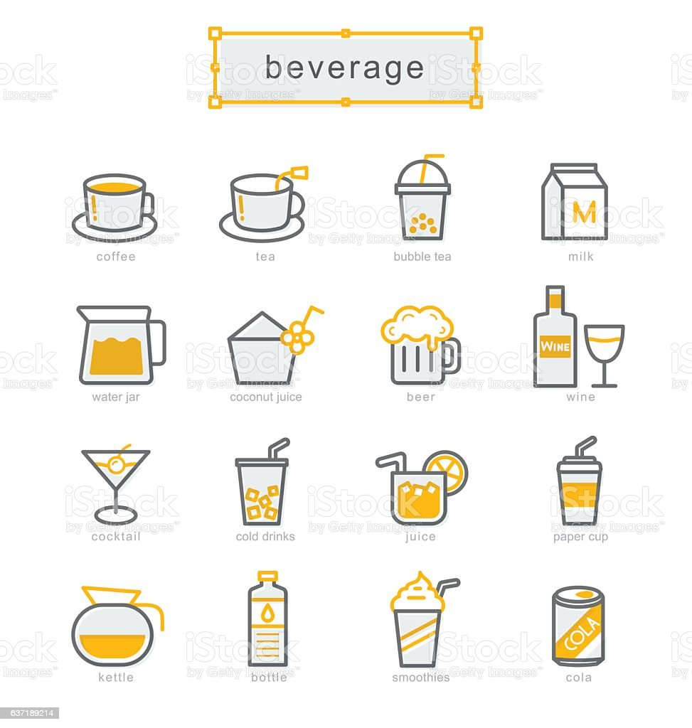 Thin line icons set, beverage vector art illustration