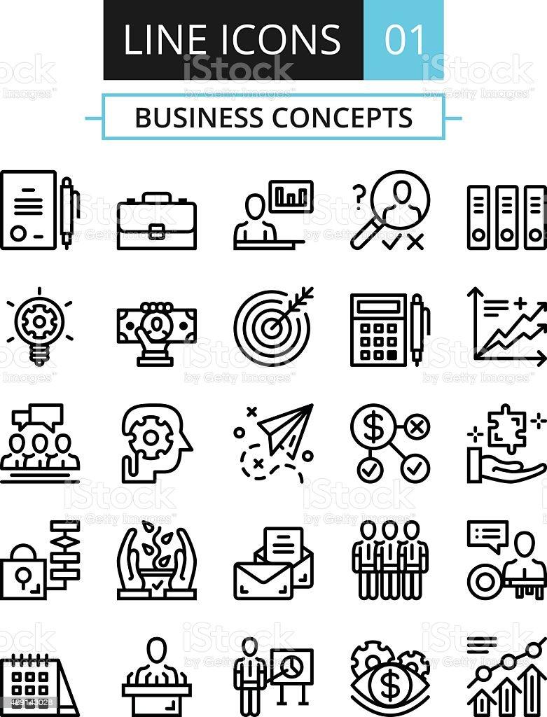 Conjunto de iconos de línea fina. De conceptos de diseño plano para los negocios - ilustración de arte vectorial