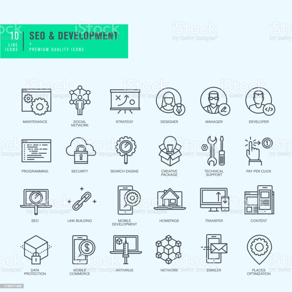 Thin line icons set for website and app development vector art illustration