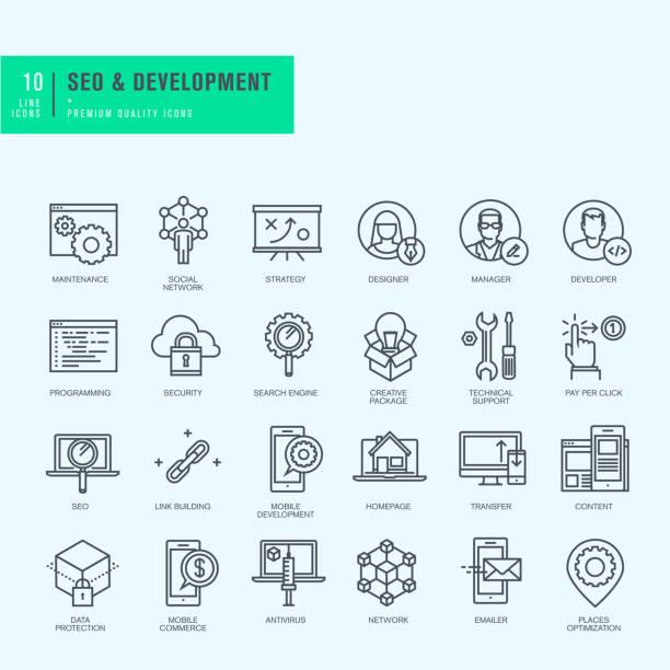 cienka linia ikon dla witryny internetowej i aplikacji rozwoju - strona startowa stock illustrations