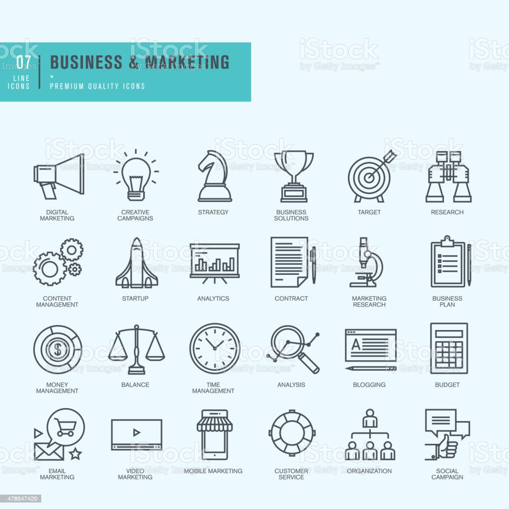 Thin line icons set. Icons for business, digital marketing. vector art illustration