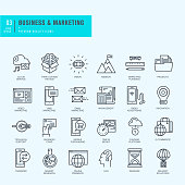 Thin line icons set. Icons for business, marketing, e-commerce.