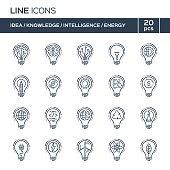 Thin line icons set. Ideas, knowledge, intelligence, energy.