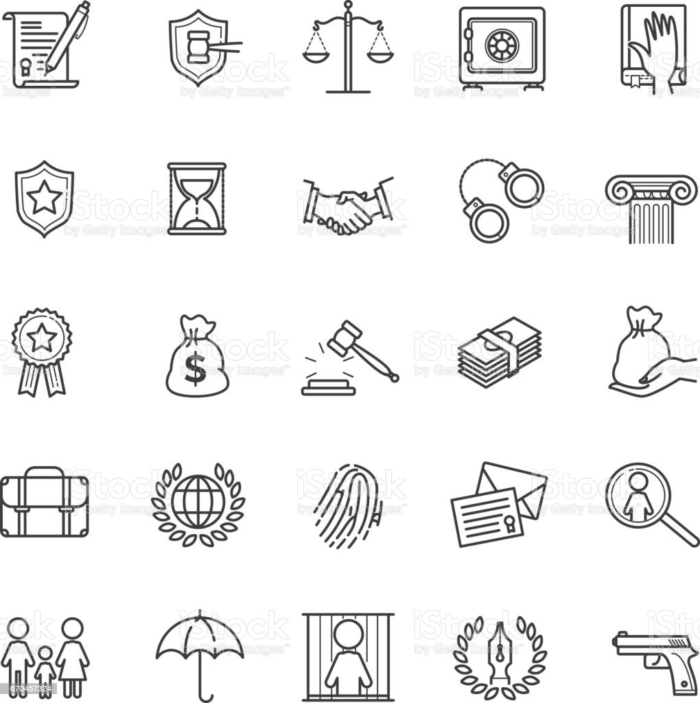 Thin line icons set - law and lawyer services vector art illustration