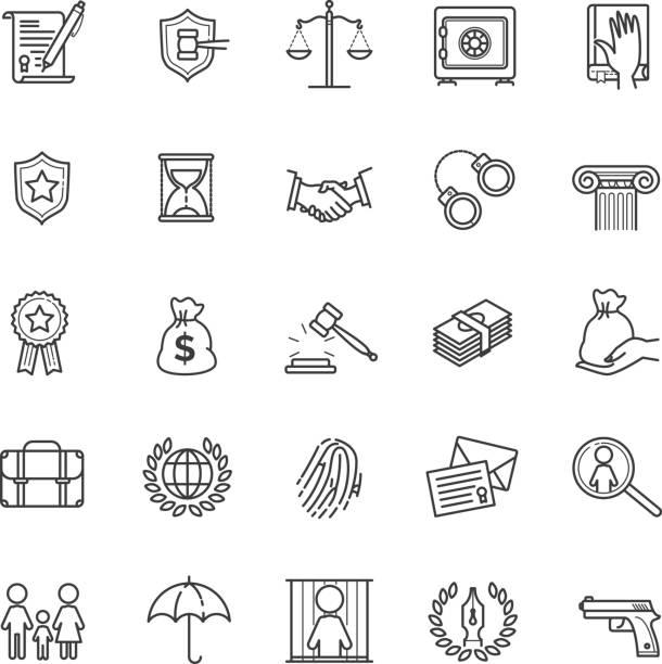 illustrations, cliparts, dessins animés et icônes de mince ligne icônes set - services de droit et avocat - notaire