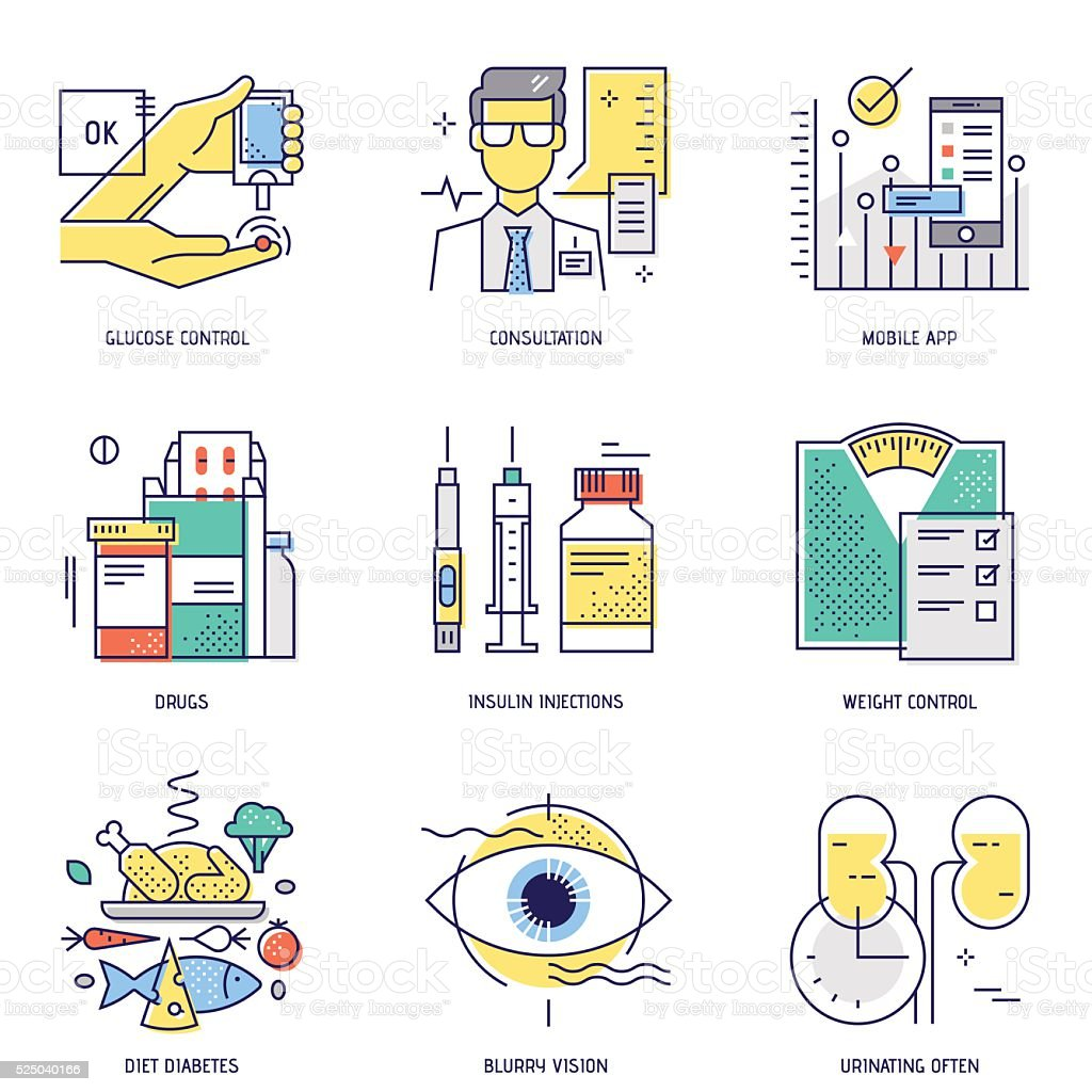 Thin line icons set of diabetes life. Vector. Flat vector art illustration