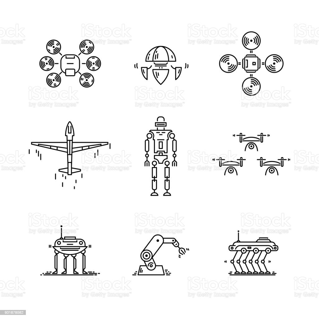 Thin line icons set of high technology. Artificial intelligent robot, quadcopter, drone, plane and manipulator vector art illustration