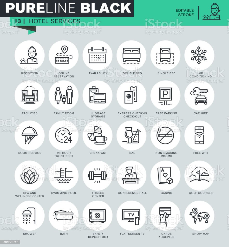 Thin line icons set of hotel services and facilities vector art illustration