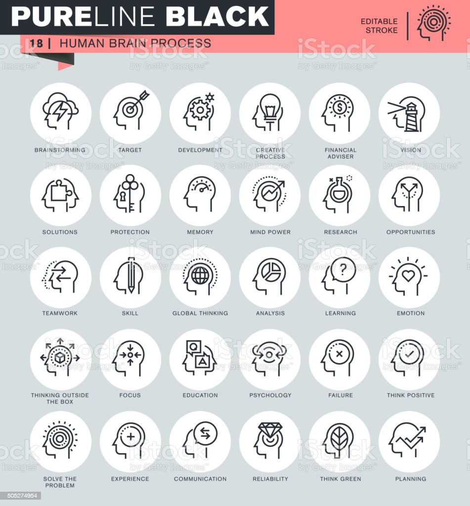 Thin line icons set of human brain process vector art illustration