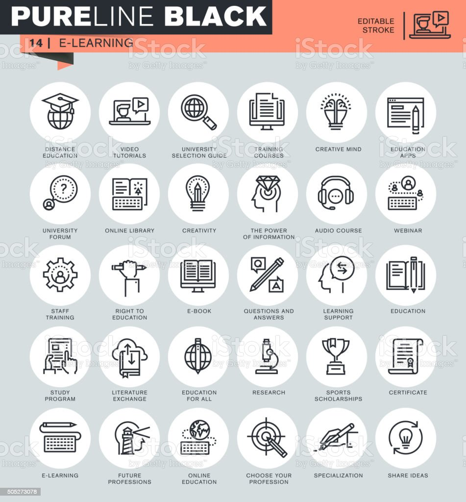 Thin line icons set of online education vector art illustration