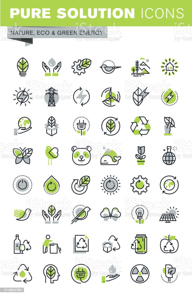 Thin line icons set of recycling theme, renewable energy vector art illustration