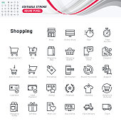 Thin line icons set of shopping.
