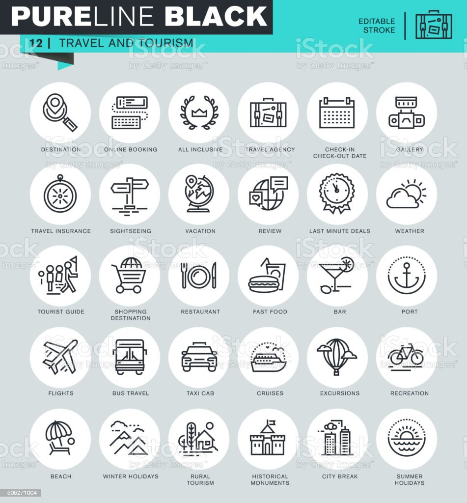Thin line icons set of travel and tourism vector art illustration