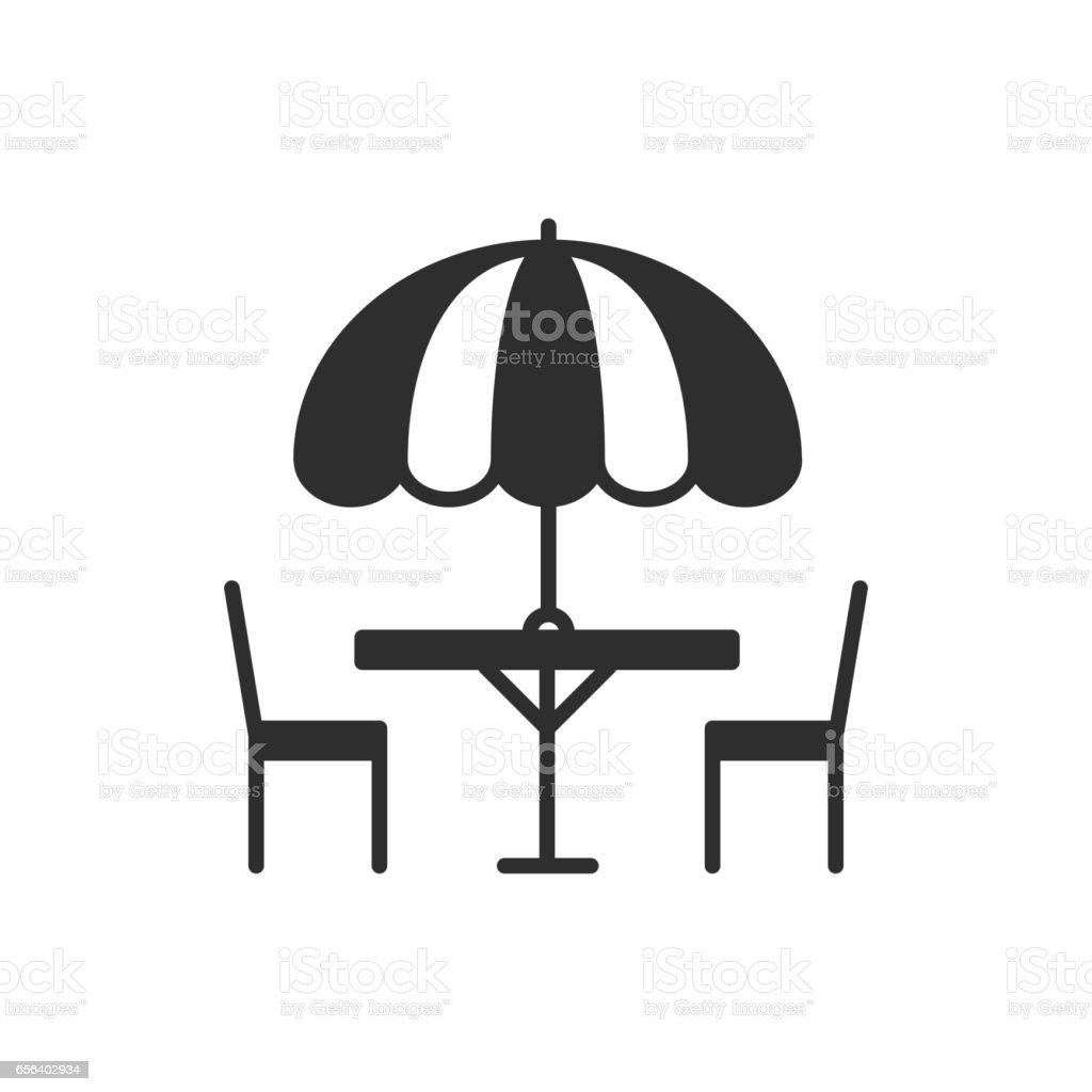Außerhalb Symbole Dünne Linie Tisch Stuhl Freien Festgelegt Im Und N80mnOyvw