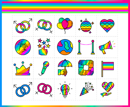 LGBT thin line icons set: