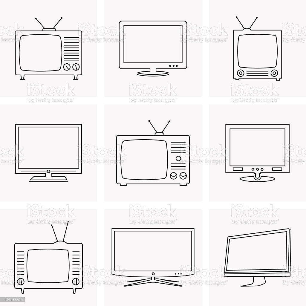 TV thin line icons set vector art illustration