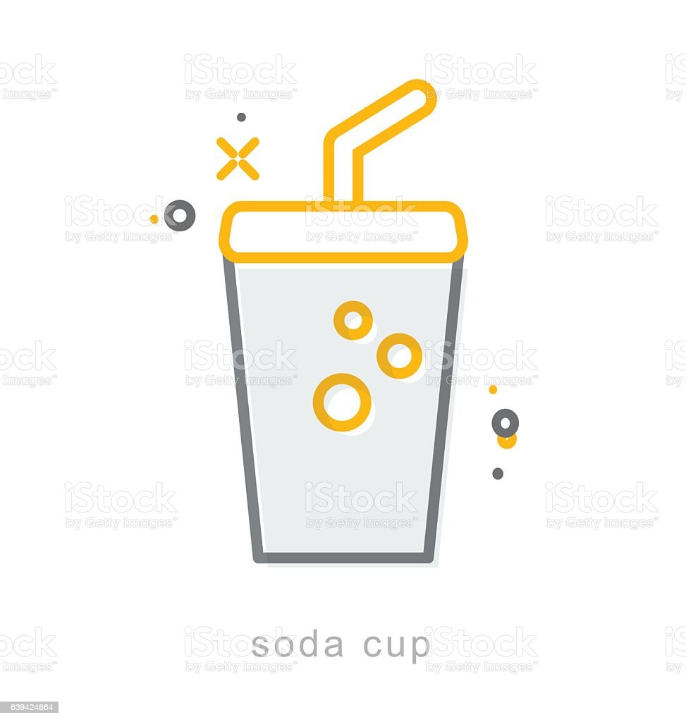 Thin line icons, Soda cup vector art illustration