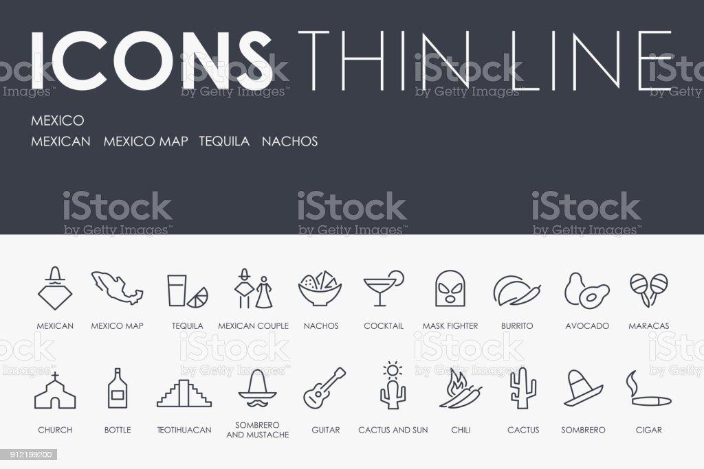 Iconos de línea fina de México - ilustración de arte vectorial
