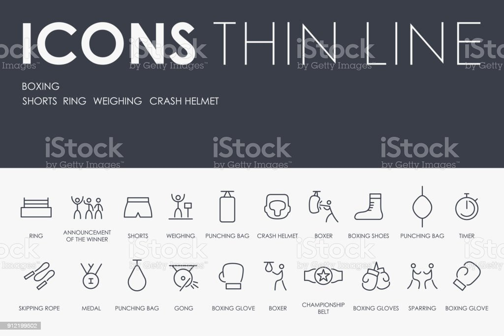 BOXING Thin Line Icons vector art illustration