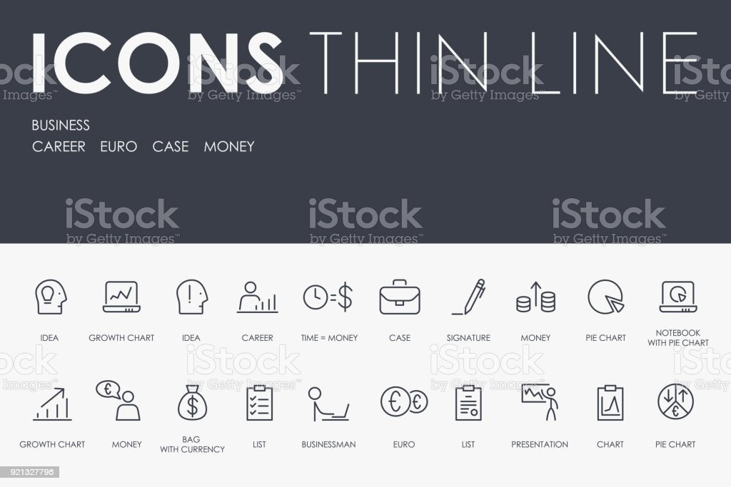 BUSINESS Thin Line Icons vector art illustration