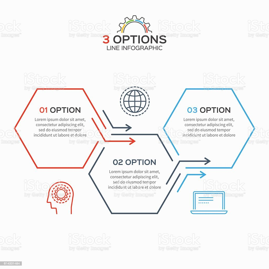 Thin line infographic template with 3 hexagons options vector art illustration