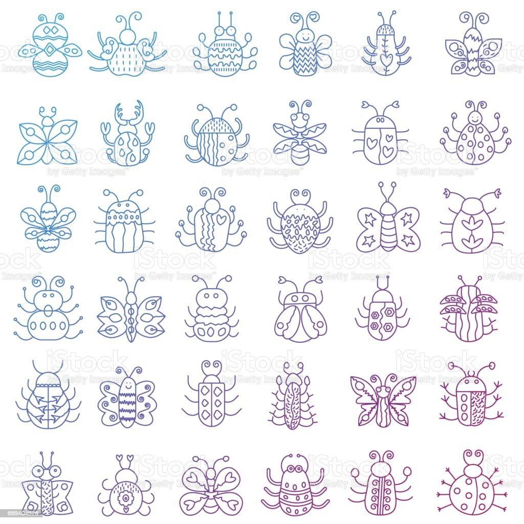 Thin line insects icons set. Color stroke outline Butterfly, bugs collection. vector art illustration
