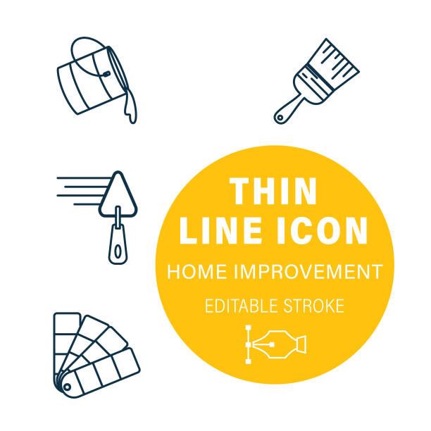 Thin Line Interior Design DIY Icon Set vector art illustration