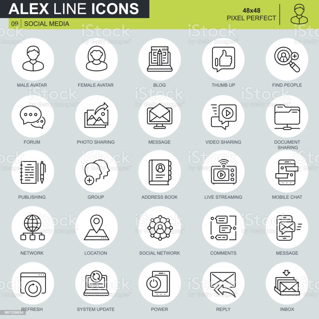 Thin line internet marketing and social network icons set for website vector art illustration