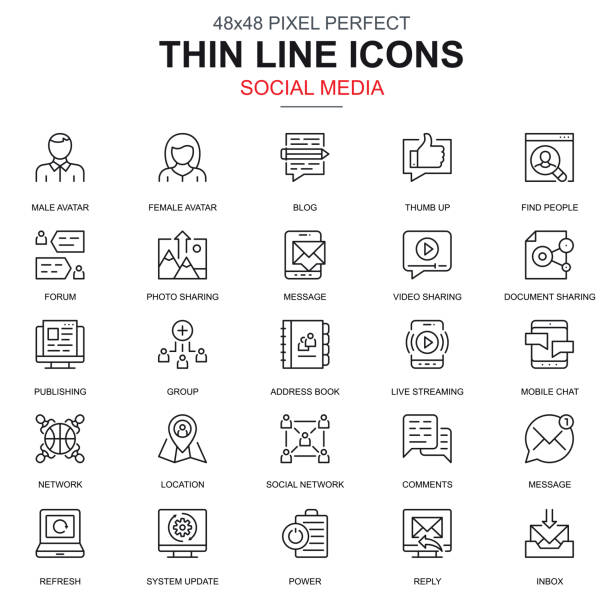 Thin line internet marketing and social network icons set Thin line internet marketing and social network icons set for website and mobile site and apps. Contains such Icons as Forum, Chat. 48x48 Pixel Perfect. Linear pictogram pack. Vector illustration. social media icons stock illustrations