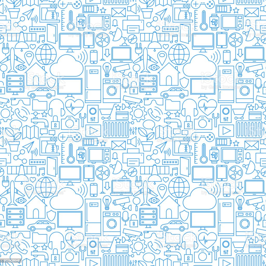 Thin Line Internet of Things White Seamless Pattern