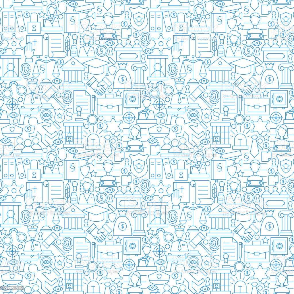 Thin Line Law Attorney and Justice White Seamless Pattern vector art illustration