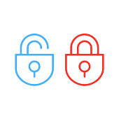 Thin line lock icons. Open and closed padlocks flat line icons set. Vector illustration isolated on white background