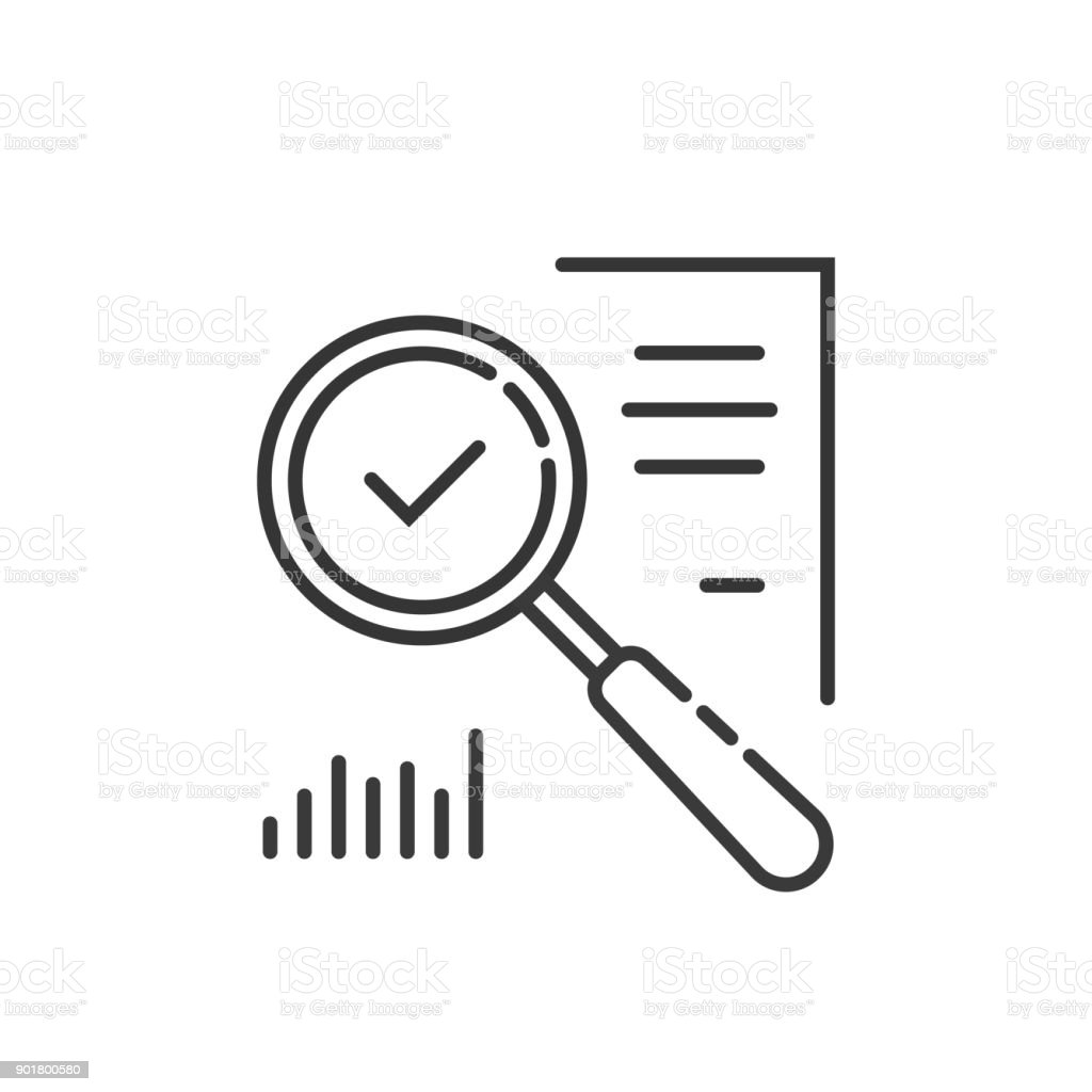 thin line magnifying glass like audit assess vector art illustration