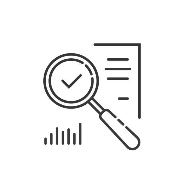 illustrazioni stock, clip art, cartoni animati e icone di tendenza di thin line magnifying glass like audit assess - facilità