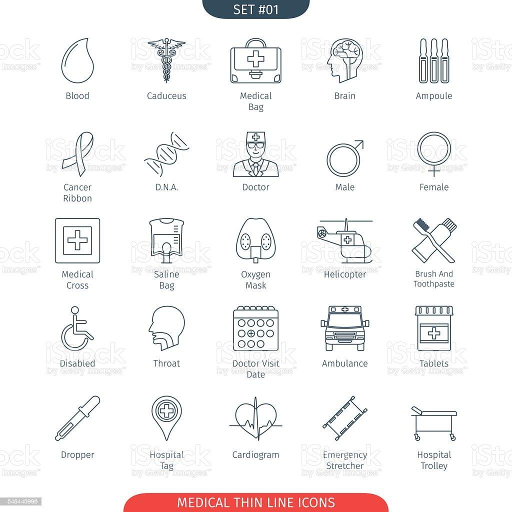 Thin Line Medical 01 - Lizenzfrei Andersfähigkeiten Vektorgrafik