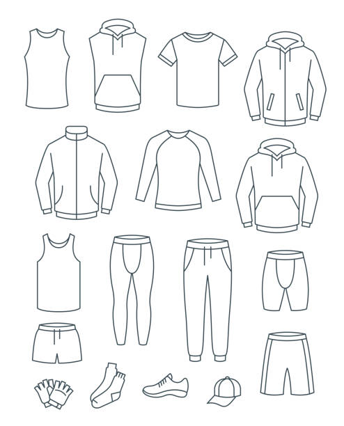 Thin line men casual clothes for fitness training Outline men casual clothes for fitness training. Basic garments for gym workout. Vector thin line icons. Outfit for active man. Sport style linear male shirts, pants, jackets, tops, bottoms, shorts tank top stock illustrations