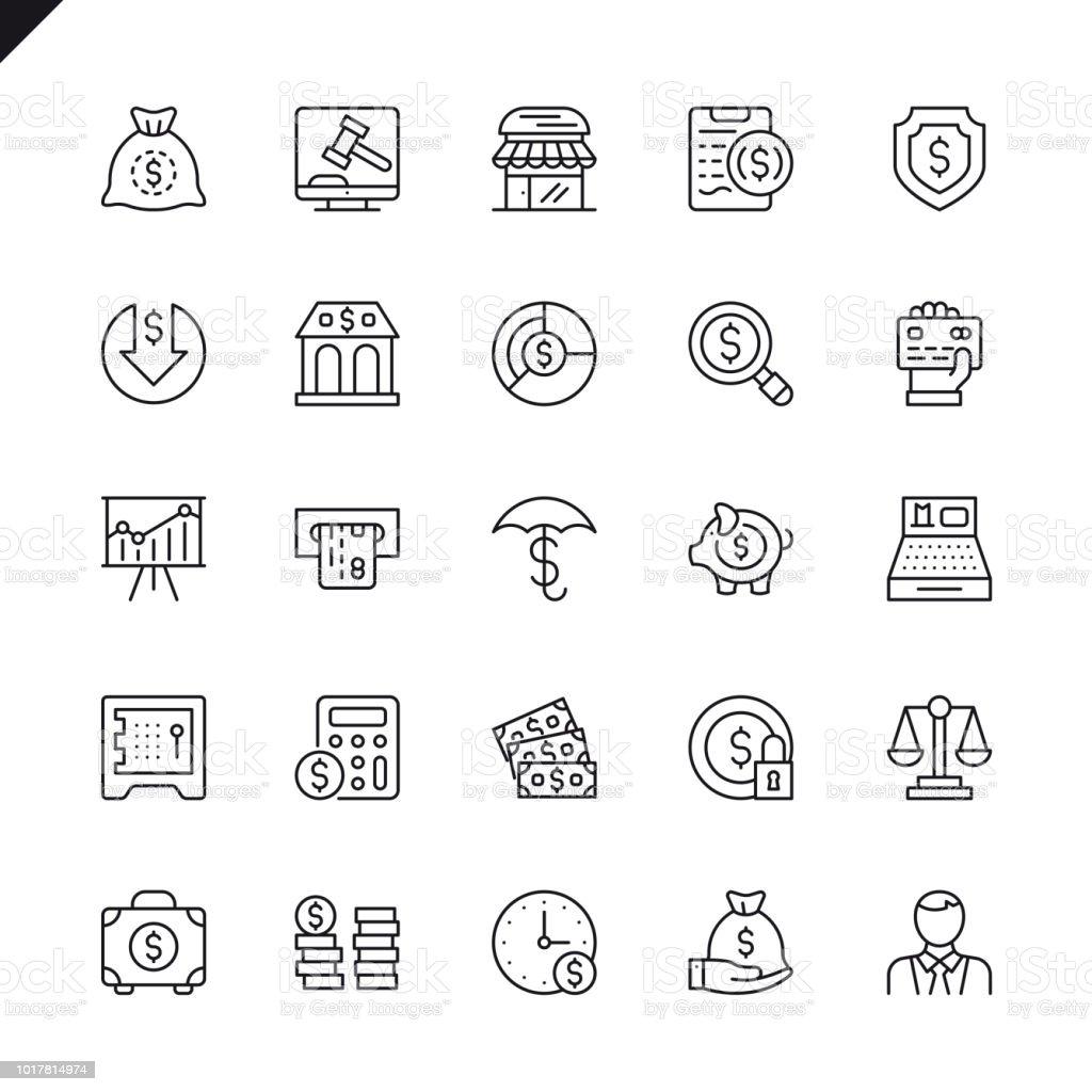 Dinero de la delgada línea, finanzas, pagos elementos iconos conjunto - ilustración de arte vectorial